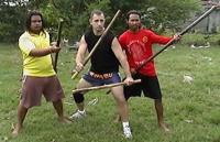 Antonio Graceffo with Krabi Krabong weapons