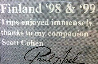 Paul Arel Thanks to Scott Cohen Finland Trips