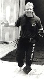 Duke Tirschel playing to the camera