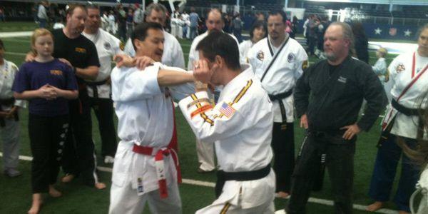 Jamie Cashion teaching martial arts