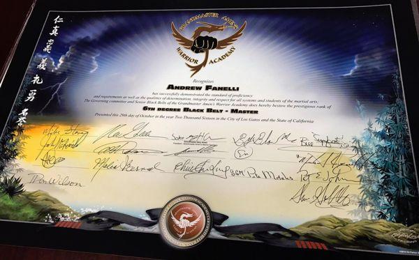 Andrew Fanelli's 6th Degree Black Belt Certificate